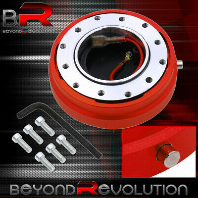 Red Thin Slim Steering Wheel Quick Release Adapter Hub 6-Bolt Hole Setup