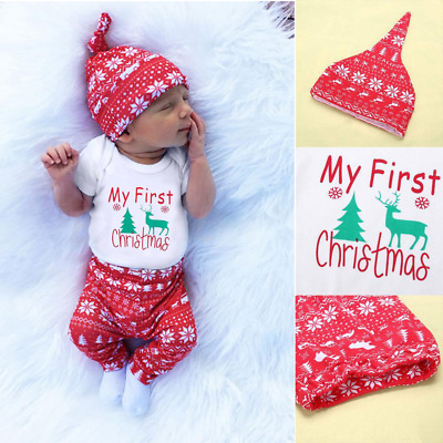 Infant Baby Boy Girl Newborn First Christmas Clothes Romper Tops Pant Outfit Set