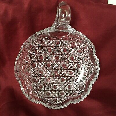 Gorgeous American Brilliant Period Cut Glass Harvard Pattern Nappy/ Candy Dish.