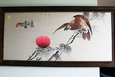 Antique Hand Carved Chinese Silk Painting 16''x33''