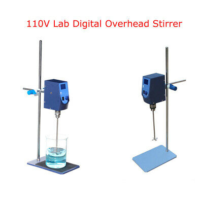 Intbuying Overhead Stirrer Lab Mechanical Mixer Scientific Digital 110V 60W 10L
