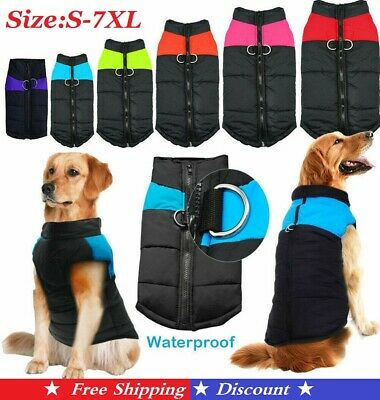 US Waterproof Pet Dog Clothes Autumn Winter Warm Padded Coat Vest Jacket Apparel