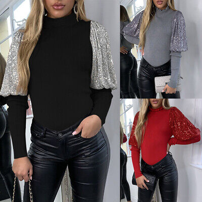 Womens  Sequin Puff Sleeve Tops Ladies Jumper Pullover Casual Blouse T Shirt