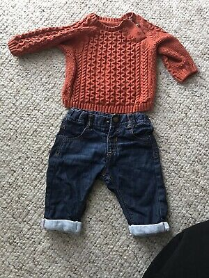 Marks & Spencer Baby Boy Outfit Jeans And Chunky Knit Jumper 0-3month