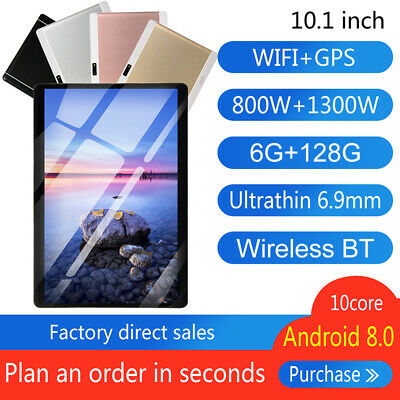 10 Inch Tablet PC Android 8.0 6+128GB 8 Core WIFI Dual SIM Camera GPS bluetooth