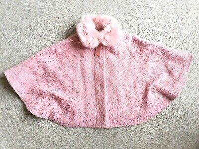 Girls monsoon Pink Sparkly Cape Size 2-3 yrs faux fur collar BNWOT IMMACULATE