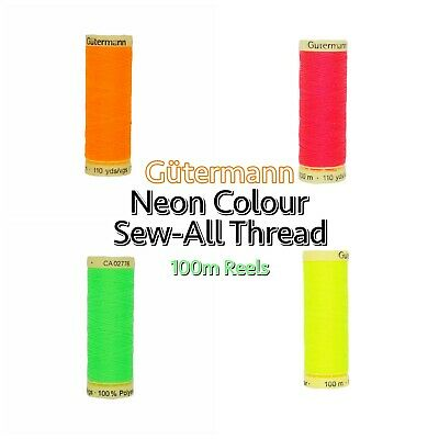 NEON Gütermann Thread - 100m Reel Sew-All 100% Polyester Machine + Hand Sewing