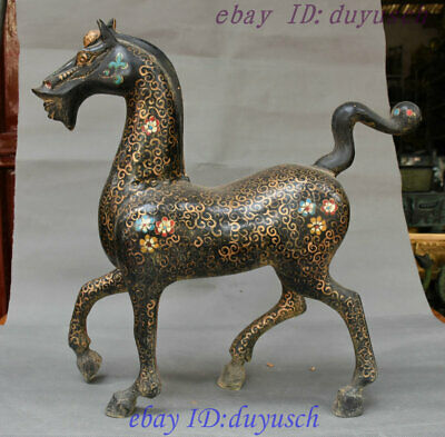 "16"" China Ancient Bronze Ware Vessels Painting Flower Horse robust Horses Statue"