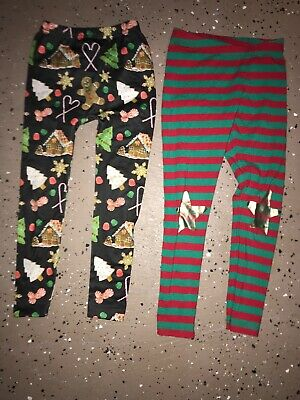 Girls CHRISTMAS LEGGINGS LOT OF 2 PAIR Size Small 6