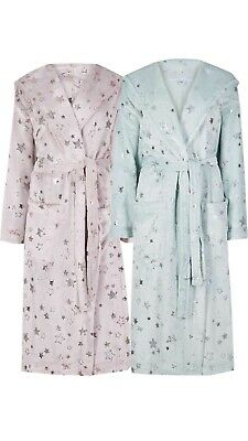 Ladies Ex Marks And Spencer Fleece Star Print Dressing Gown Robe Nightwear M&S
