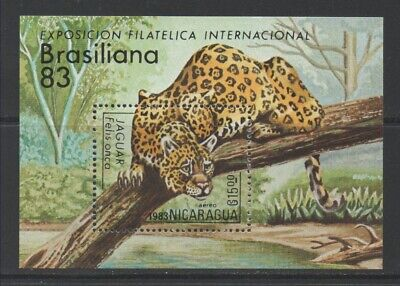Thematic Stamps Animals - NICARAGUA 1983 BRAZILIANA EXHIB TIGER M/S mint