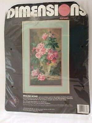 Beautiful Dimensions Crewel Embroidery Kit English Rose 1990 Vintage