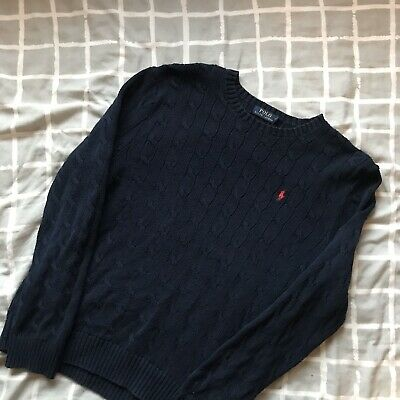 Mens Ralph Lauren Jumper Large Exc Cond Ribbed Smart