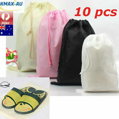 10x Travel Pouch Storage Shoe Bag Portable Tote Drawstring Non-woven Bags Dust