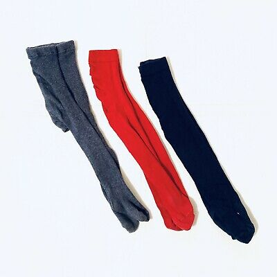 Next Unknown Baby Girls Tights 3 Pack Red Blue Grey 12-18 Months