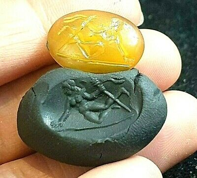 Antique Greek Amber Intaglio Lady Warrior Swimming Under Water Seal Stamp Bead