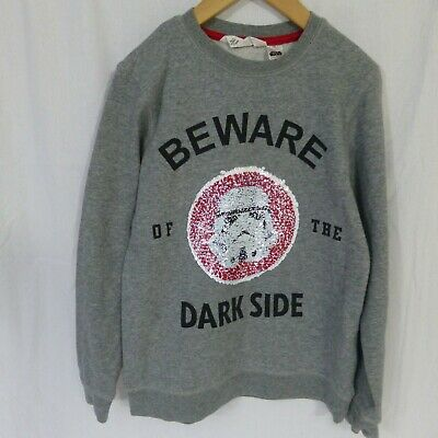 "Boys H&M Star Wars ""Beware of the dark side) sweatshirt jumper age 8-10 years"