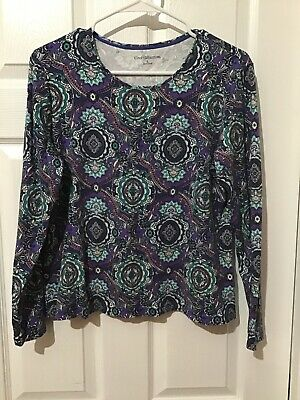 Women's Large Croft & Barrow Long Sleeve Blue Multicolor Stretch Top