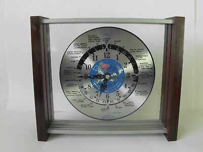 Red Airplane GMT Quartz World Time Zones Mantle Clock – Rare Sextant Brand -9x8""