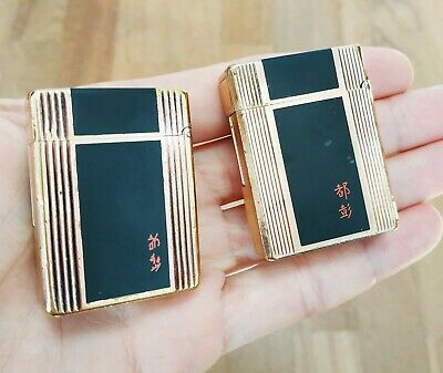 ST Dupont Pair of Vintage Lighters Line 1 small Gold Plated & Laque de Chine
