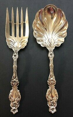 Large Antique Whiting Lily Pattern Sterling Silver Scalloped Spoon and Fork