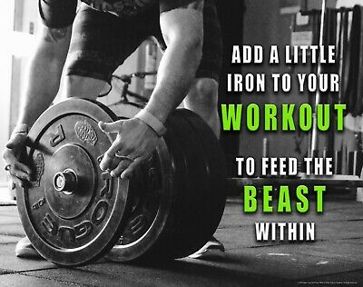 Workout Beast Quote Motivational Poster Art Print Weight Lifting Gym Wall Decor