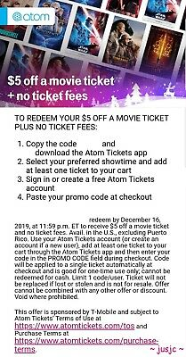 ATOM TICKETS $5 OFF ANY MOVIE PLUS NO FEES ticket till 12/16 Star Wars coupon