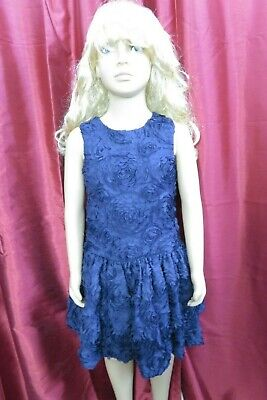 Autograph Girls Blue sleeveless party xmas occasional floral dress Age 6-7yrs