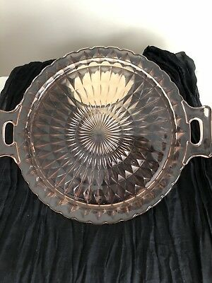 Pink Depression Glass Platter With Handles ~ Beautiful!!