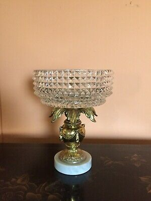 Ornate Glass Crystal, Brass and Marble Hollywood Regency Style Compote