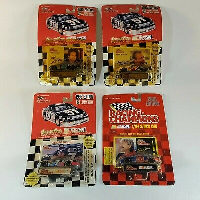Lot of 4 Racing Champions 1995/96 1:64 NASCAR Bodine Jarrett Martin Wallace