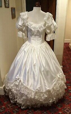 Vintage 1980'S Victorian 'Cinderella' Style Ivory 'Satin' Wedding Dress By Ablc