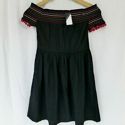Girls Kylie Mackays black Bardot off shoulder dress age 12 years BNWT