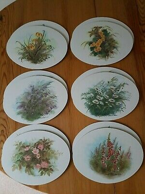 12 Quality Placemats/ Tablemats Christopher Scales Floral Oval Used Occasionally
