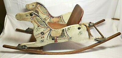 Beautiful Early Primitive Antique Shoo Fly Child's Wood Rocking Horse !!!