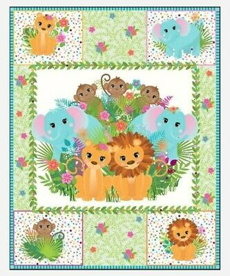 Pre Quilted Baby Quilt Panel * Safari Animals *  New * Free Post *