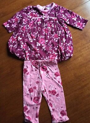 Baby Girls Lovely Floral Dress And Leggings From George  Age 0-3 Months  Ex Cond