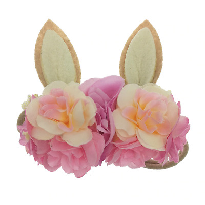 Easter Holiday Bunny Rabbit Floral Baby Girls Headband - Pink (Style 3)