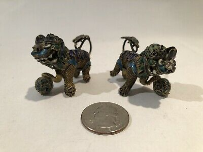 Pair of Miniature Chinese Gilt Silver & Enamel Foo Dogs / Guardian Lions