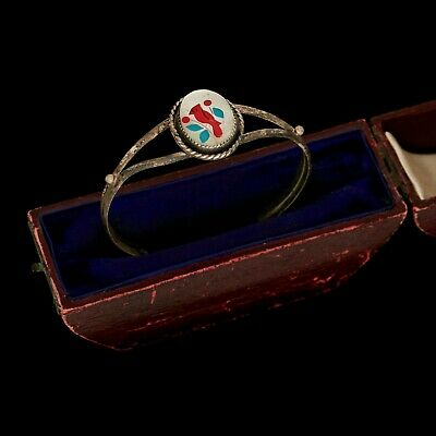 Antique Vintage Native Zuni Sterling Silver Inlay Turquoise Coral Cuff Bracelet