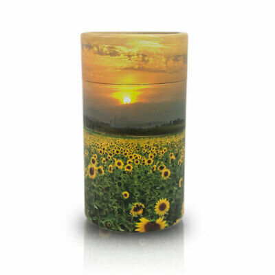 Sunflower Fields Paper Biodegradable Cremation Urn - Extra Small  Yellow