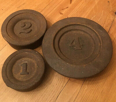 VINTAGE ANTIQUE STACKING COUNTER SCALE BALANCE WEIGHTS CAST IRON Rare 4 Lb