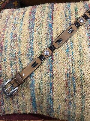 Youth Boys 20 LEATHER Western Cowboy Tan Brown BELT Silver Conchos Buckle