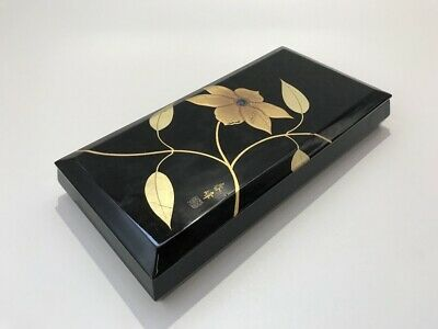 Japanese Wooden Calligraphy Tool Storage Box Vtg Lidded Makie Lacquer Ware h183