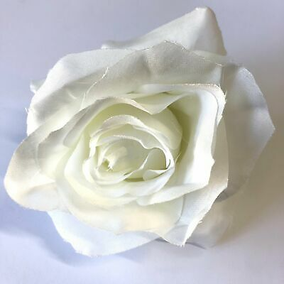 Artificial Silk Flower Head - White Rose Style 111 - 1pc