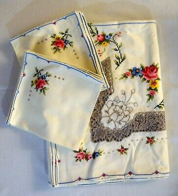 Vintage Italian Large Embroidered, Cutwork & Crochet Tablecloth + 12 Napkins