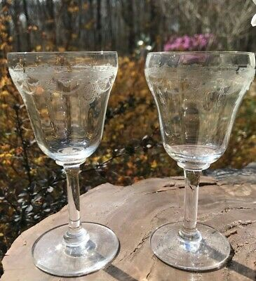 "Pair of Antique Crystal Needle Etched 4 1/2"" Sherry Cordial Glasses Optic Bowl"