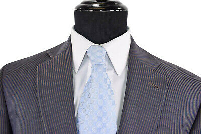 Jack Victor Prossimo Sport Coat Size 40 XL In Textured Blue & Brown Stripes 2Btn