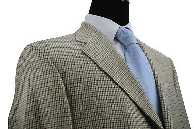 Coppley Size 44 Sport Coat Tan Cream Brown and Silver Plaid Silk Wool Blend