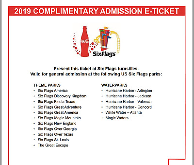 Six Flags Holiday in the Park 2019 Admission E-Tickets - 4-Pack